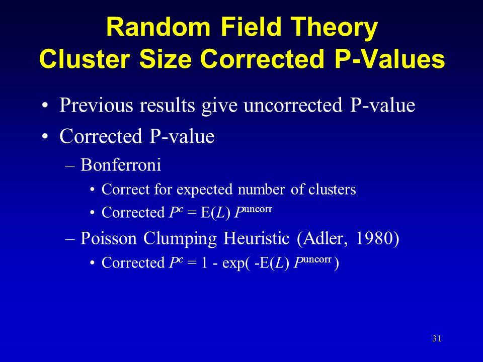 Random Field Theory Cluster Size Corrected P-Values