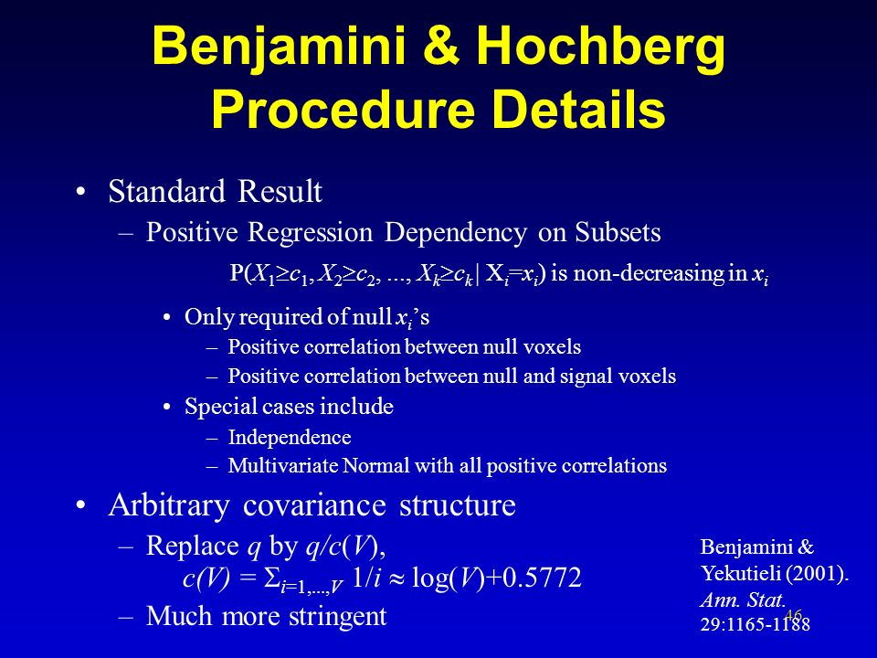 Benjamini & Hochberg Procedure Details