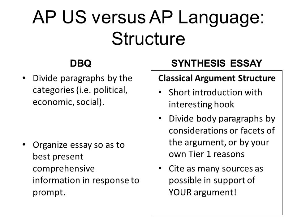 AP US versus AP Language: Structure