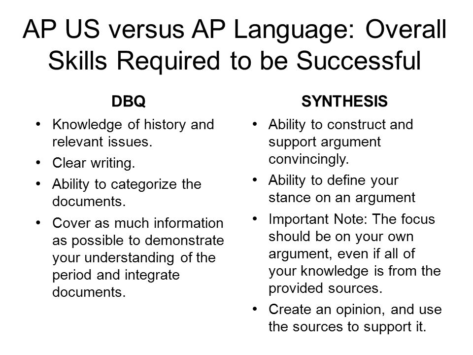 AP US versus AP Language: Overall Skills Required to be Successful