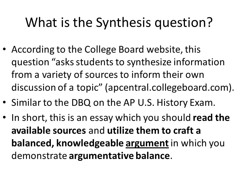 What is the Synthesis question