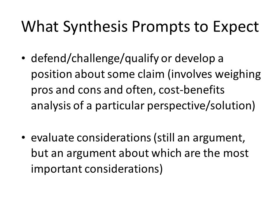 What Synthesis Prompts to Expect