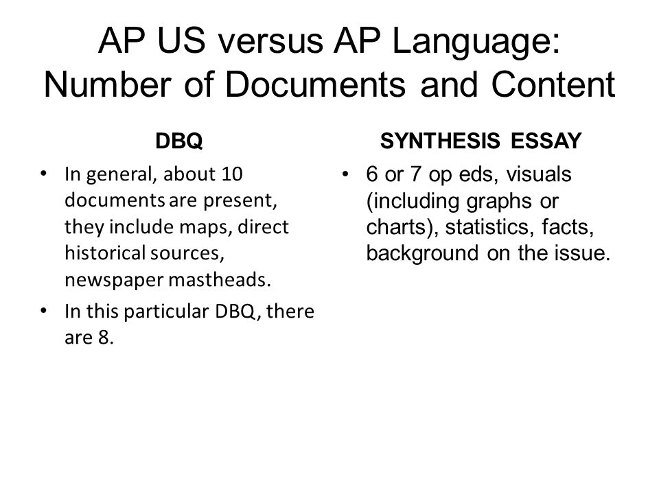 AP US versus AP Language: Number of Documents and Content