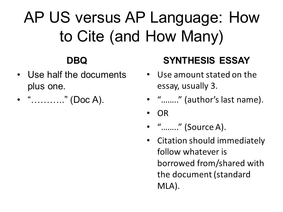AP US versus AP Language: How to Cite (and How Many)