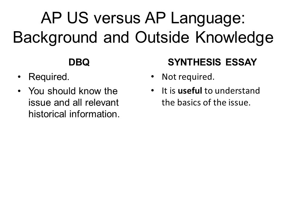 AP US versus AP Language: Background and Outside Knowledge