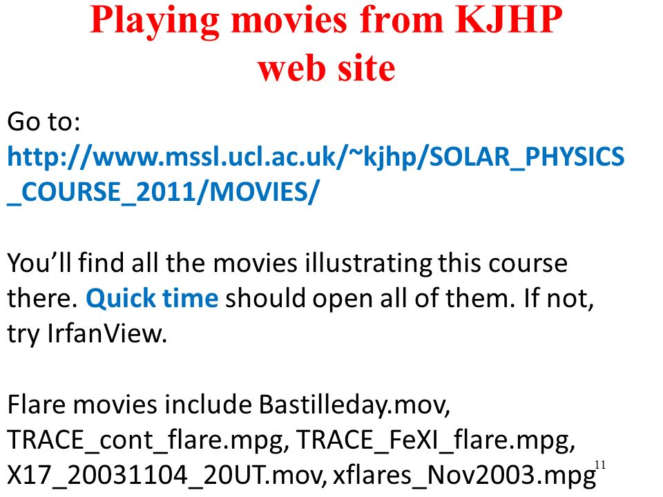 Playing movies from KJHP web site