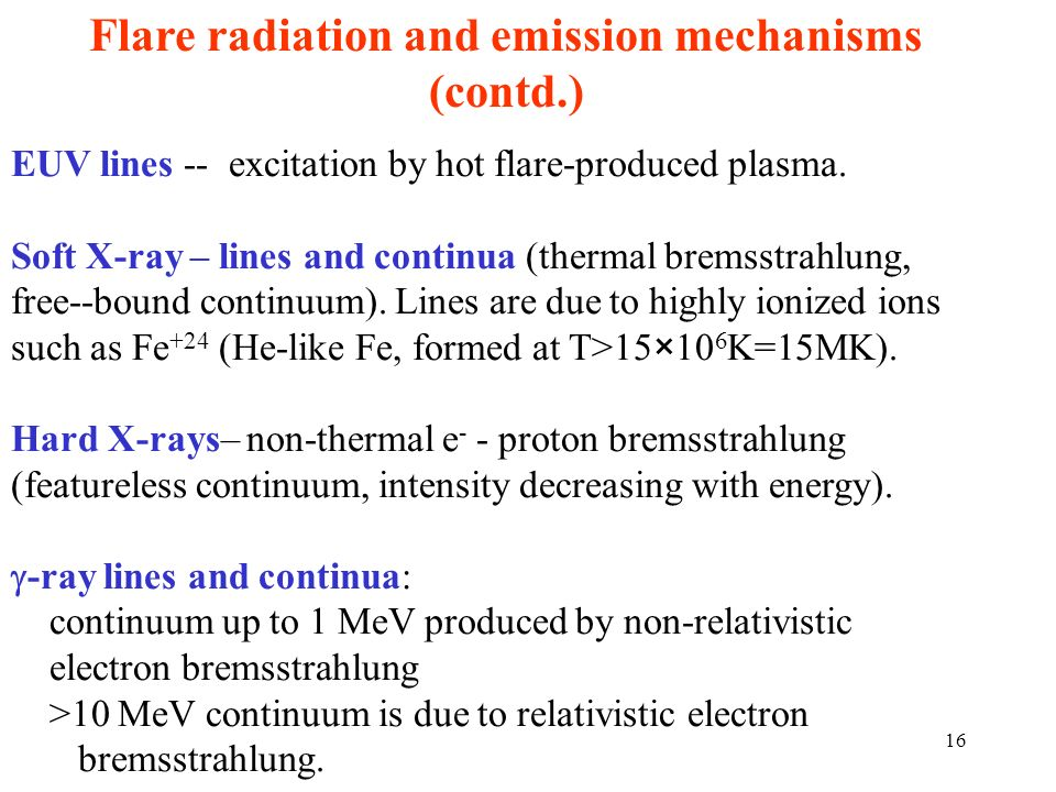 Flare radiation and emission mechanisms (contd.)
