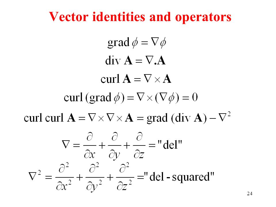 Vector identities and operators