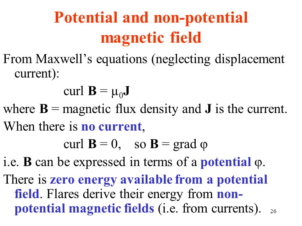Potential and non-potential magnetic field
