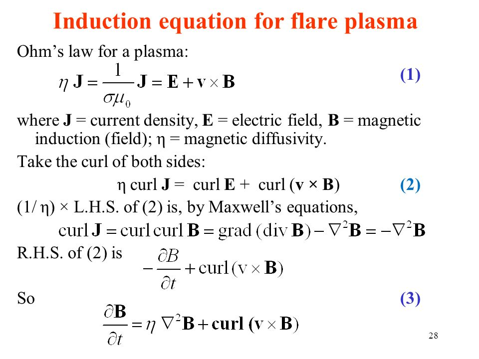 Induction equation for flare plasma