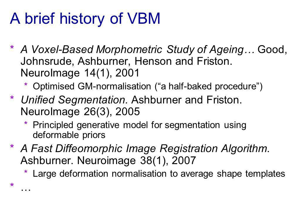 A brief history of VBM A Voxel-Based Morphometric Study of Ageing… Good, Johnsrude, Ashburner, Henson and Friston. NeuroImage 14(1), 2001.