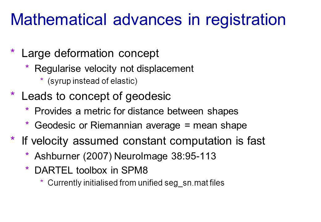 Mathematical advances in registration