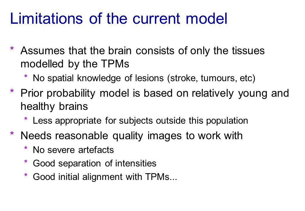 Limitations of the current model