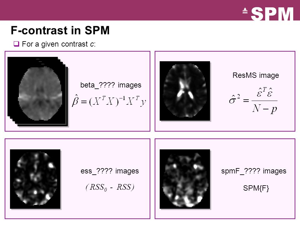 F-contrast in SPM ( RSS0 - RSS ) For a given contrast c: ResMS image