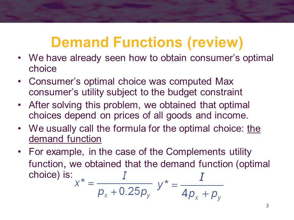 Demand Functions (review)