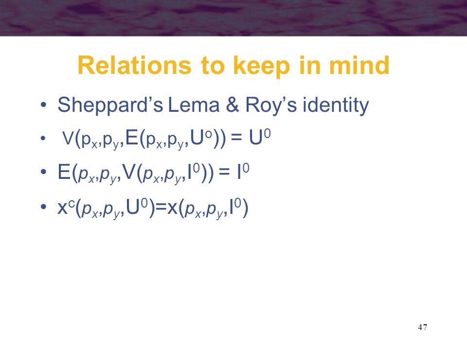 Relations to keep in mind