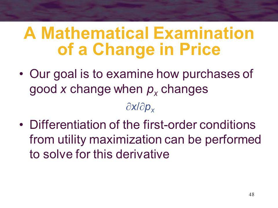A Mathematical Examination of a Change in Price