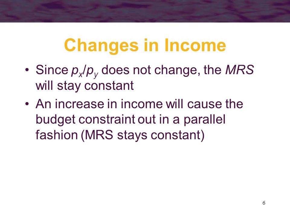 Changes in Income Since px/py does not change, the MRS will stay constant.
