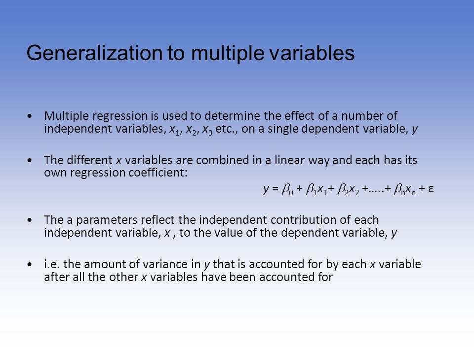 Generalization to multiple variables