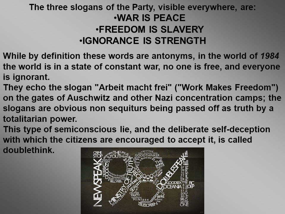 War freedom Ignorance is is is peace slavery strength  - ppt
