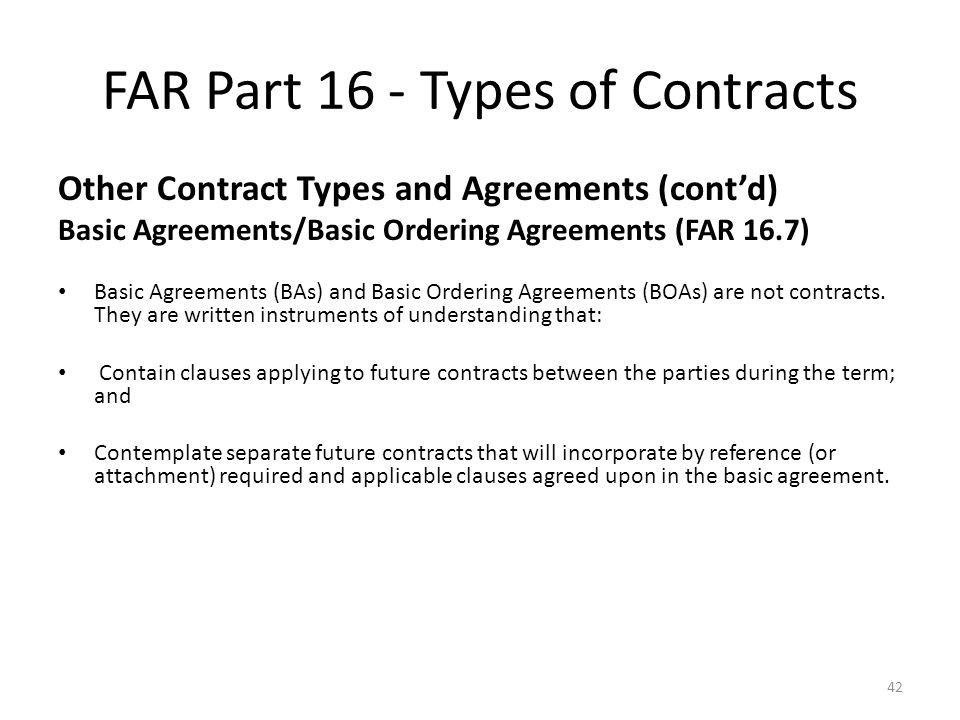Federal Acquisition Regulation Far Part 16 Types Of Contracts