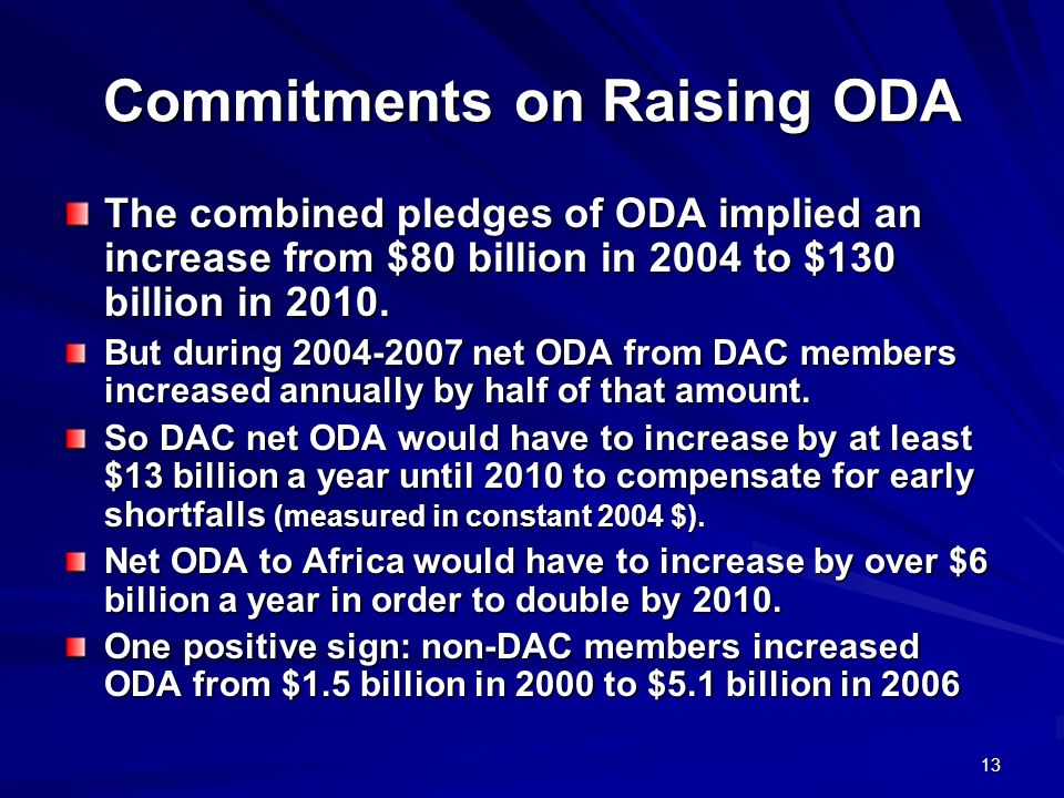 Commitments on Raising ODA