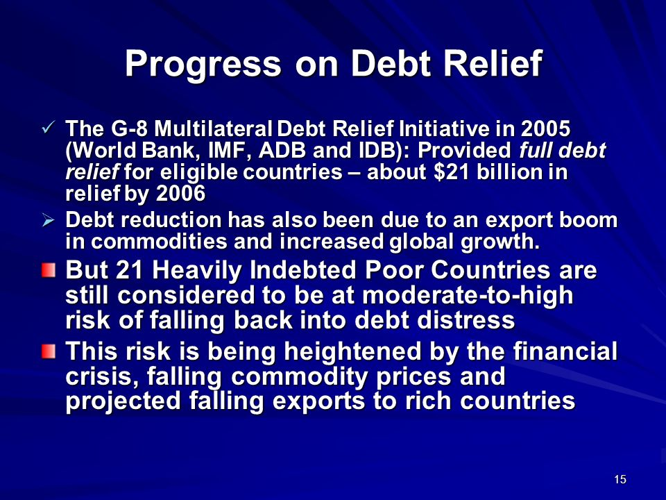 Progress on Debt Relief