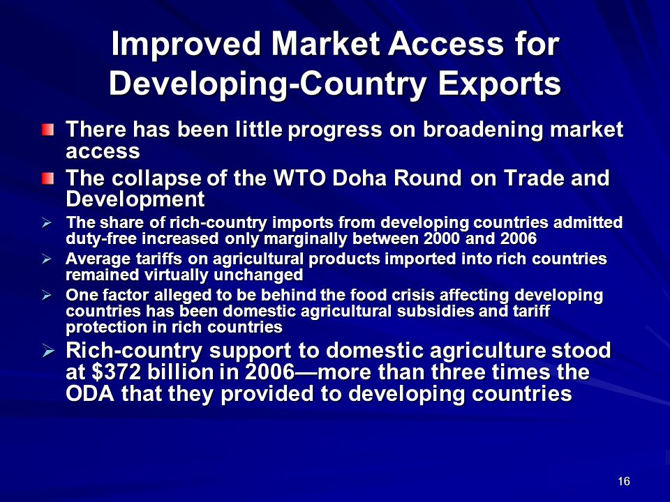 Improved Market Access for Developing-Country Exports