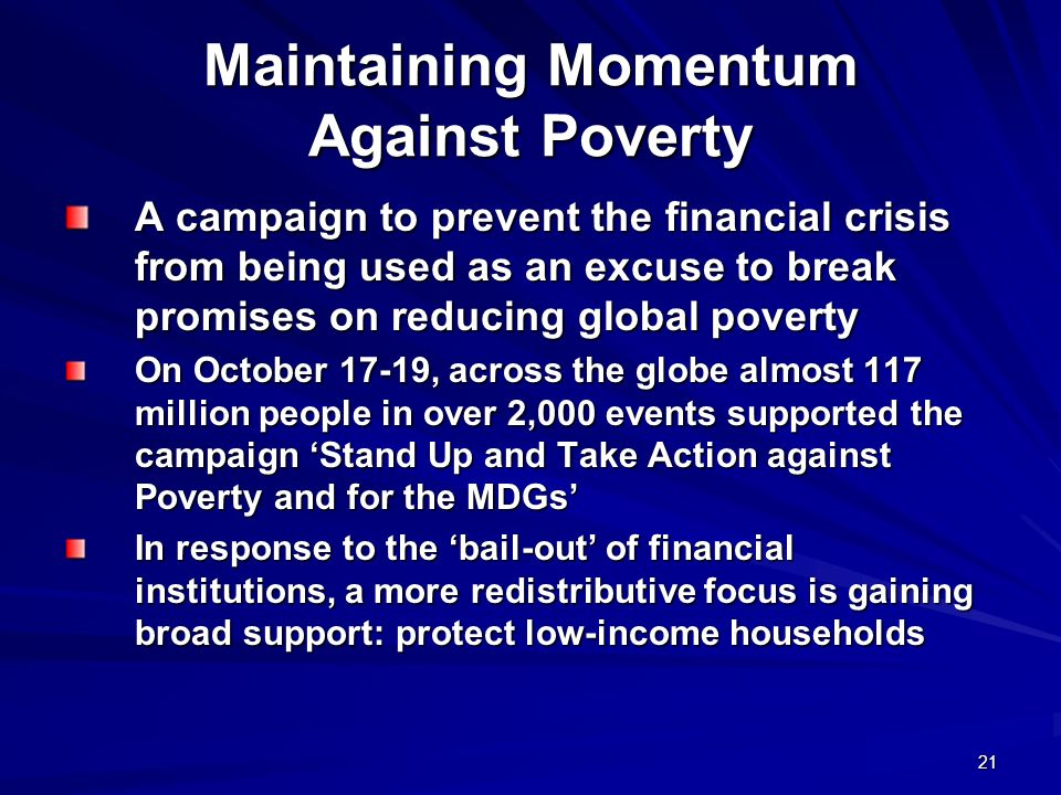 Maintaining Momentum Against Poverty