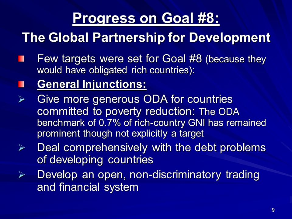 Progress on Goal #8: The Global Partnership for Development