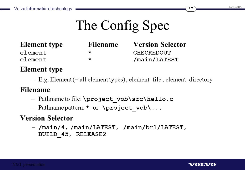 The Config Spec Element type Filename Version Selector Element type