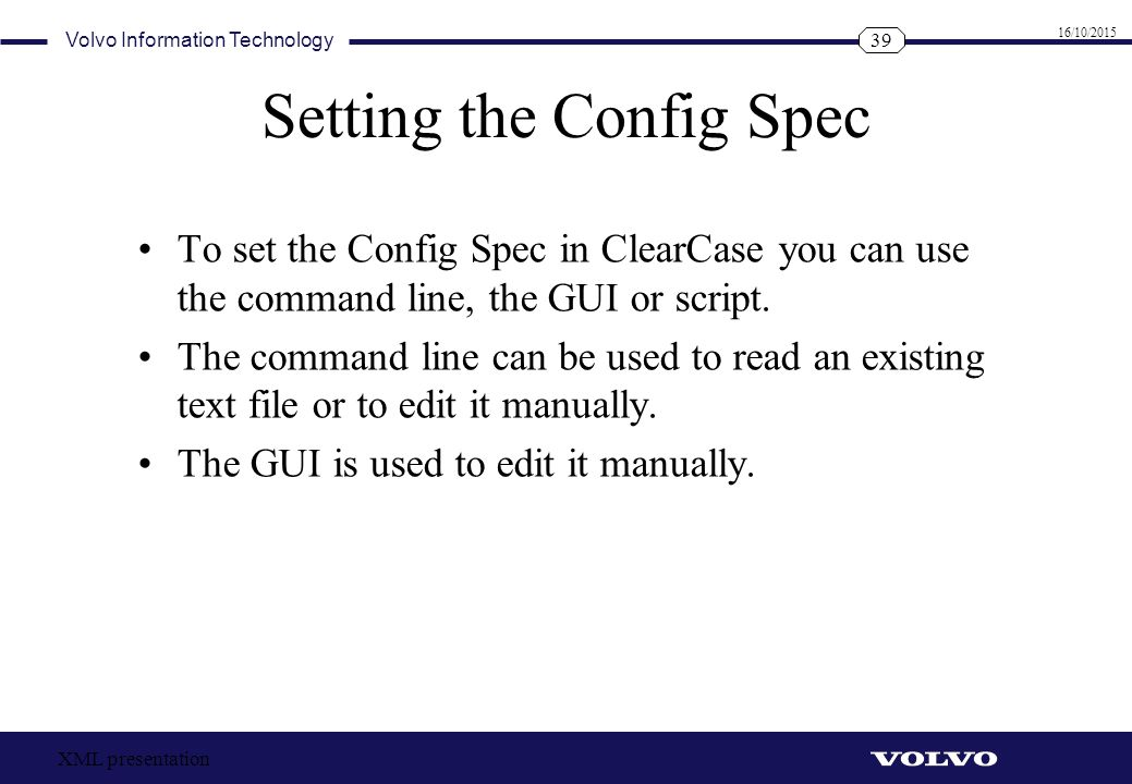 Setting the Config Spec