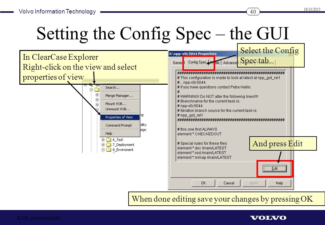Setting the Config Spec – the GUI