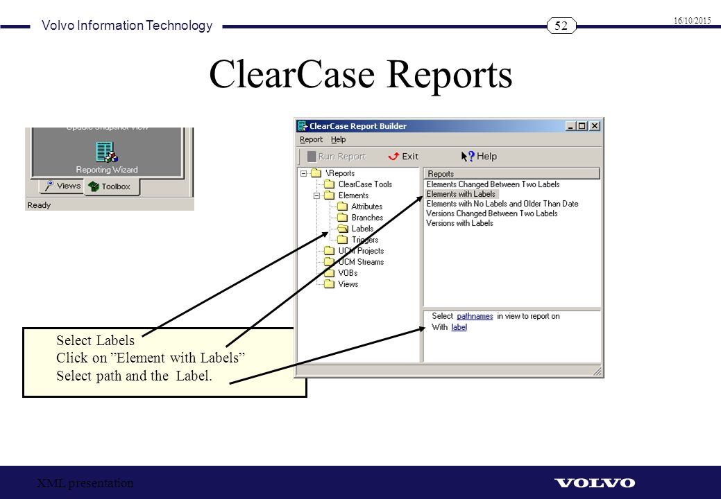 ClearCase Reports Select Labels Click on Element with Labels