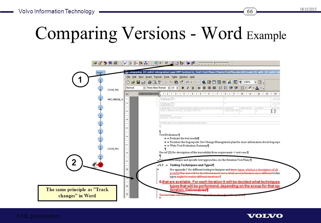 Comparing Versions - Word Example