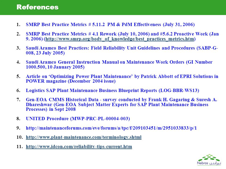 Fhg sad vjg ams sap pm generation team ppt download references smrp best practice metrics pm pdm effectiveness july 31 2006 malvernweather Image collections