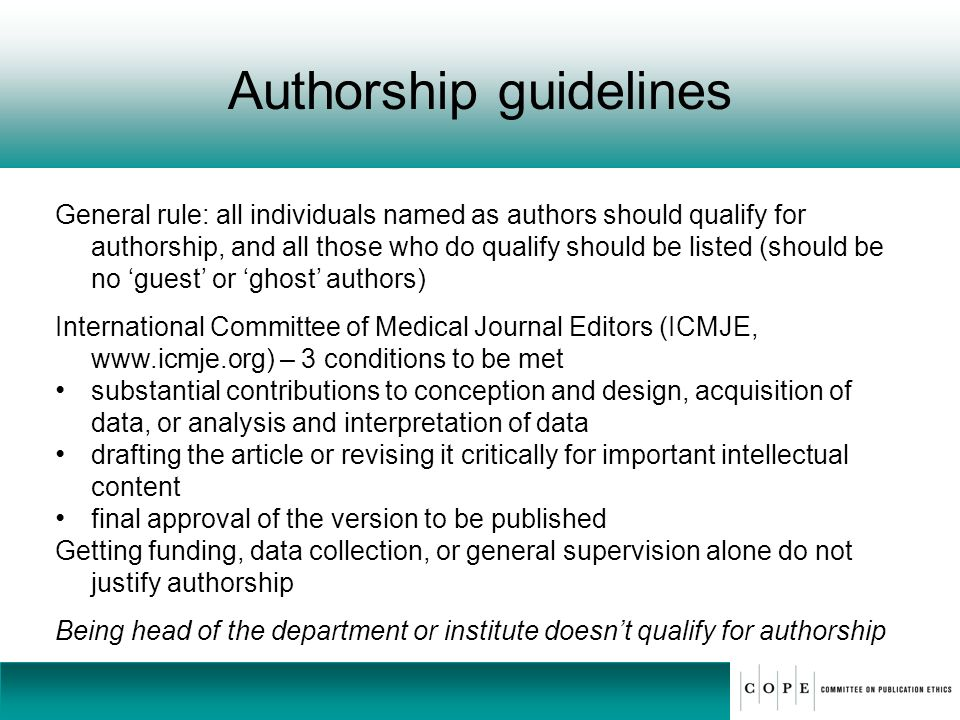 Authorship guidelines