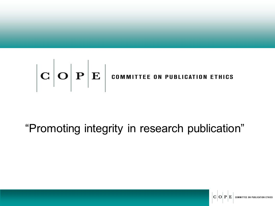 Promoting integrity in research publication