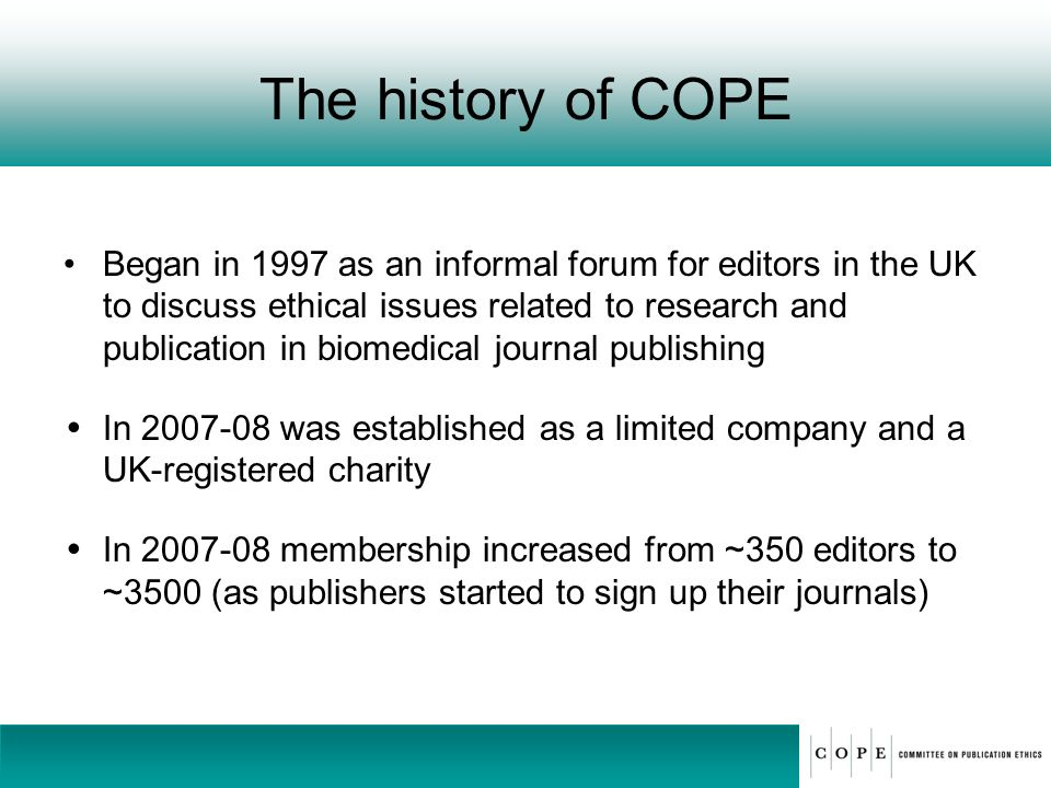 The history of COPE