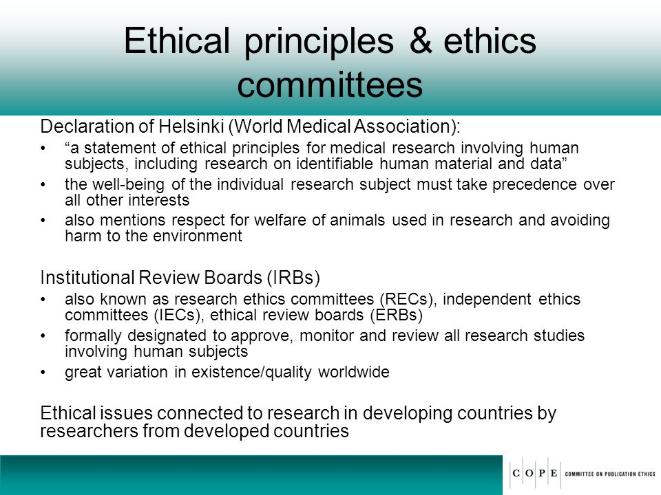 Ethical principles & ethics committees