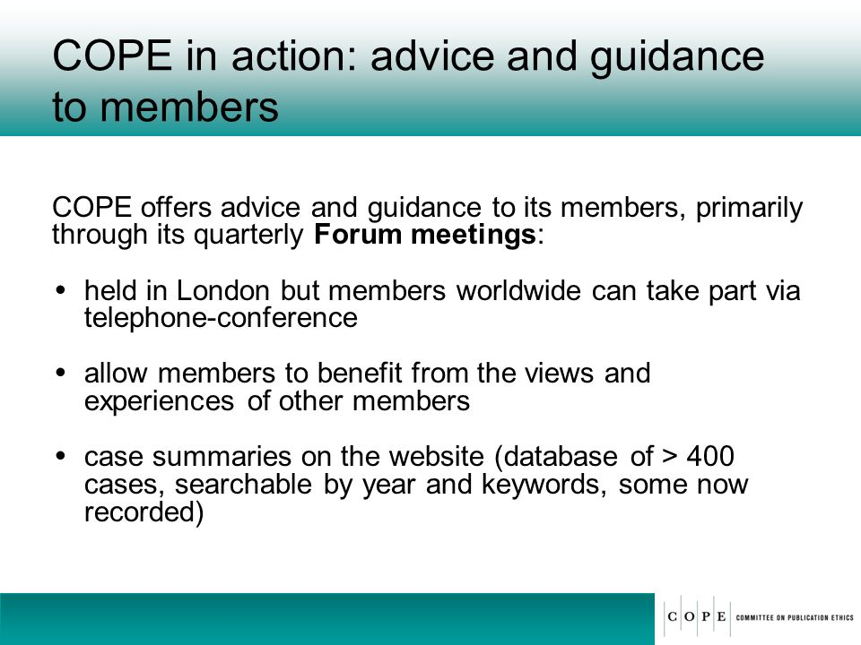 COPE in action: advice and guidance to members