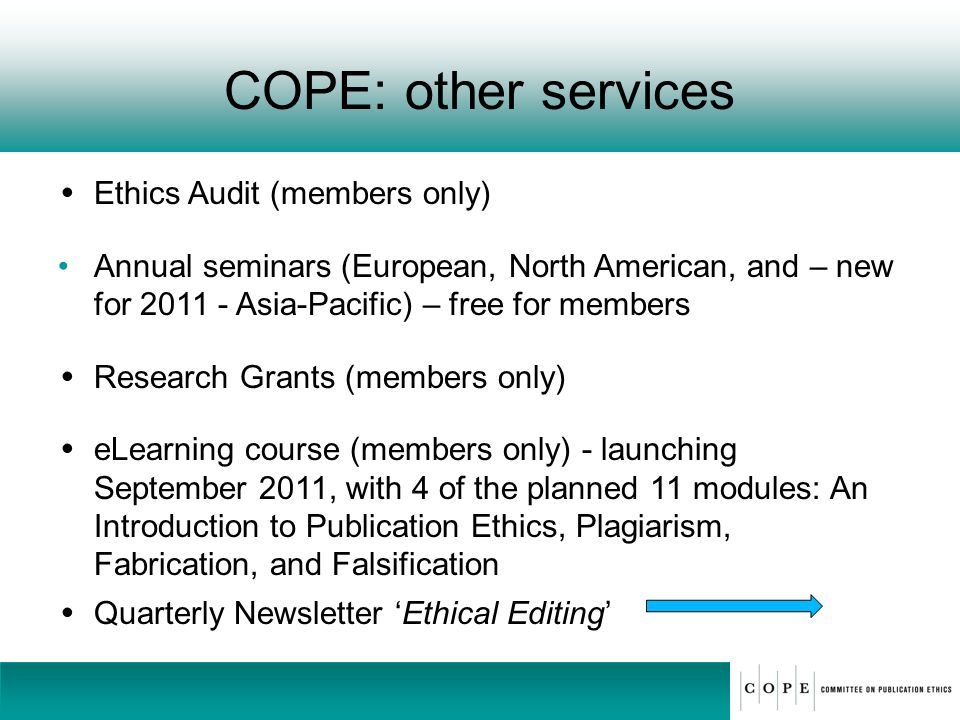 COPE: other services Ethics Audit (members only)
