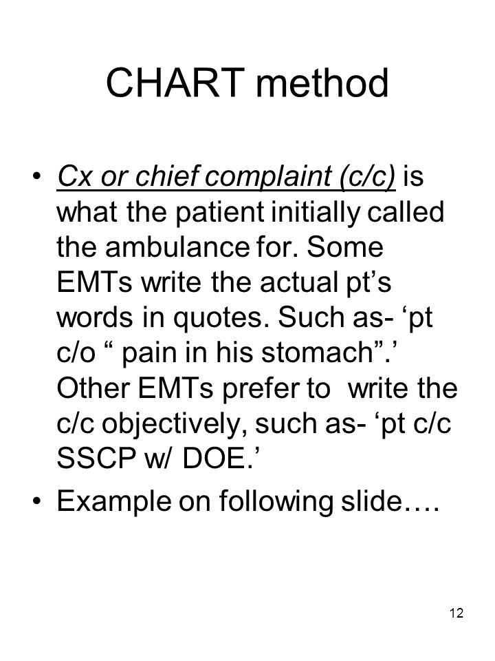 Ems Report Writing Chart Method - How to use a chronological