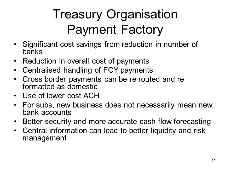 Treasury Organisation Payment Factory