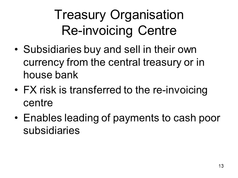 Treasury Organisation Re-invoicing Centre