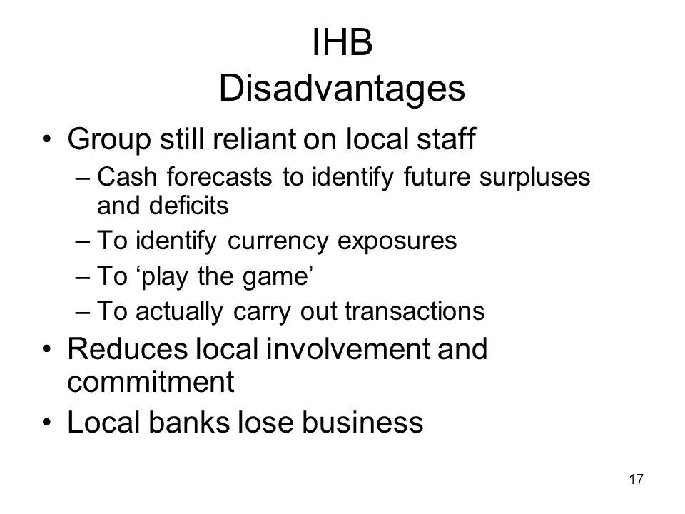 IHB Disadvantages Group still reliant on local staff