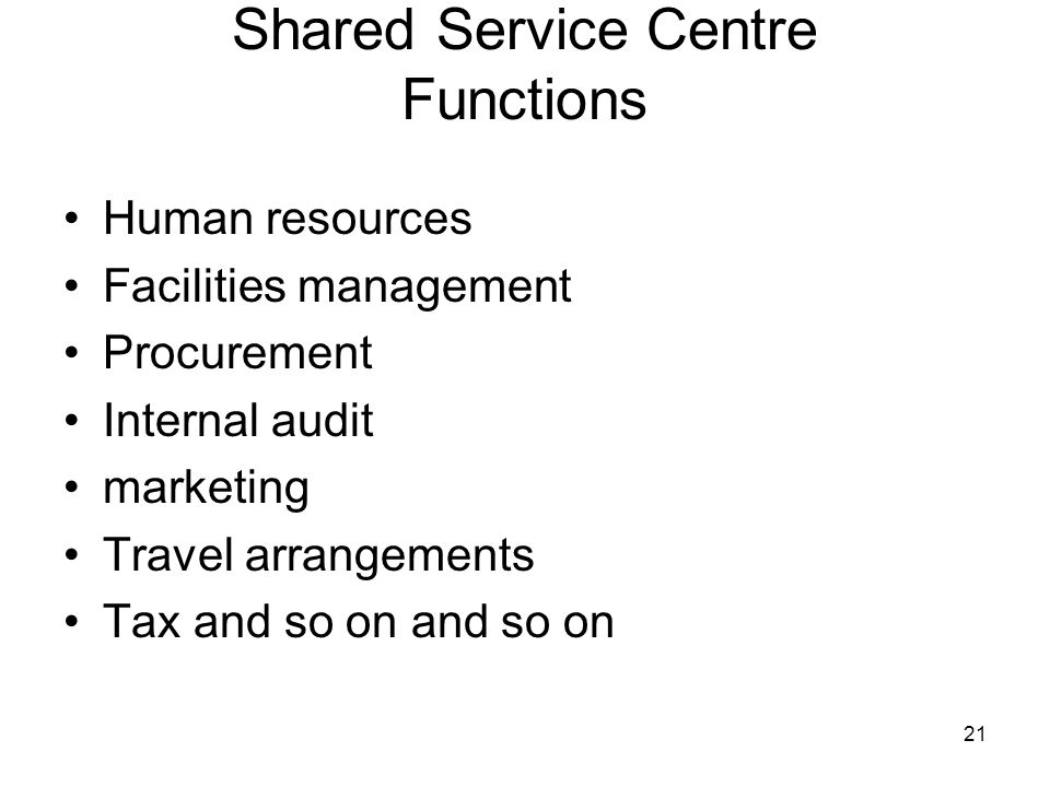 Shared Service Centre Functions
