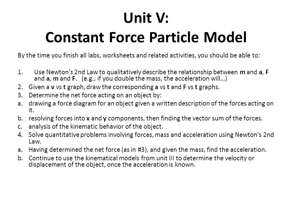 Unit V Constant Force Particle Model Ppt Video Online Download. Unit V Constant Force Particle Model. Worksheet. Worksheet 2 Drawing Force Diagrams At Mspartners.co