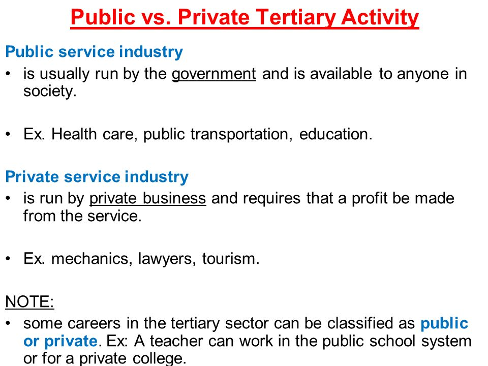 tertiary activity involves industries which provide services for