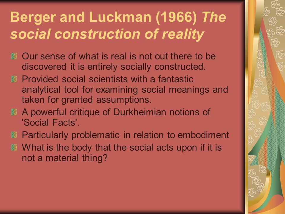 Berger and Luckman (1966) The social construction of reality